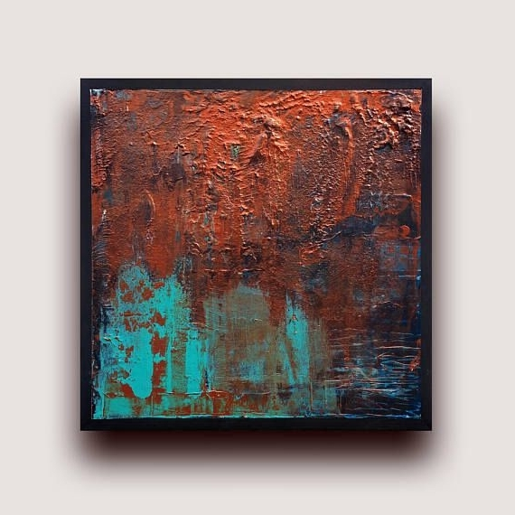 Metallic Abstract Painting, Acrylic Abstract Art, Copper Wall Art With Regard To Latest Abstract Copper Wall Art (View 12 of 15)