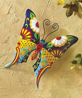 Mexican Metal Yard Wall Art With Regard To Most Recently Released Knl Store Butterfly Metal Wall Art Garden Mexican Talavera Style (View 10 of 15)
