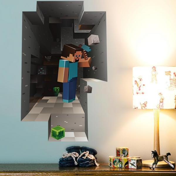Minecraft 3D Dwarf Mining Cartoon Wall Sticker Living Room Home Within Widely Used Minecraft 3D Wall Art (View 7 of 15)
