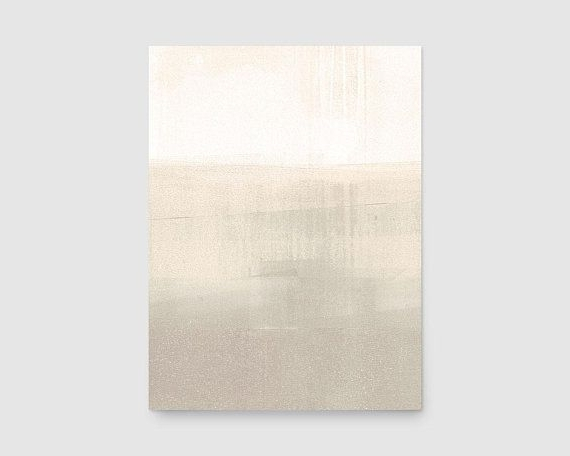 Minimalist Abstract Landscape Painting, Beige Abstract Art, Neutral Regarding Preferred Neutral Wall Art (View 2 of 15)