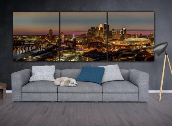 Minneapolis Skyline On Canvas Large Wall Art Minneapolis (View 4 of 15)