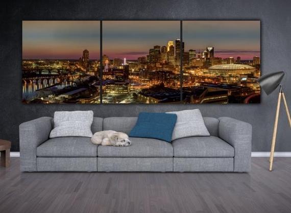 Minneapolis Skyline On Canvas Large Wall Art Minneapolis (View 14 of 15)