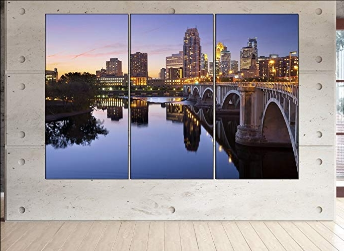 Minneapolis Wall Art Inside Preferred Amazon: Minneapolis Skyline Canvas Minneapolis Wall Art (View 6 of 15)