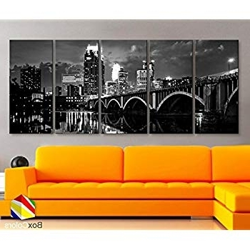 Minneapolis Wall Art Intended For Famous Amazon: Minneapolis Minnesota Skyline Canvas Wall Art Prints  (View 7 of 15)