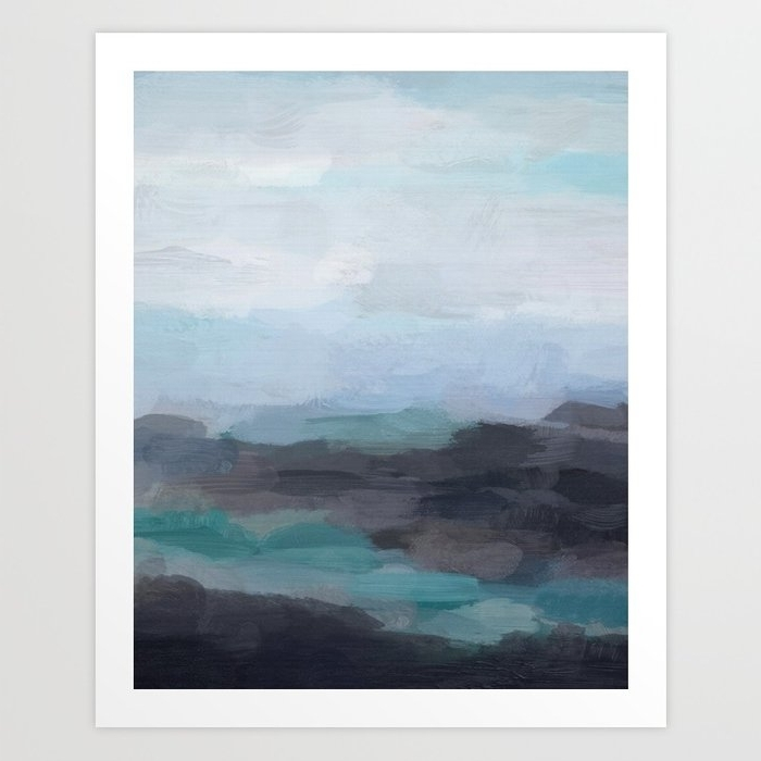 Mint Navy Blue Green Abstract Wall Art, Painting Art, Ocean Painting For Recent Blue Green Abstract Wall Art (View 8 of 15)