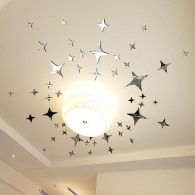 Mirror Wall Sticker, Home Inspira Silver Stars Mirror Wall Decor Throughout Well Known Diy Mirror Wall Art (View 10 of 15)