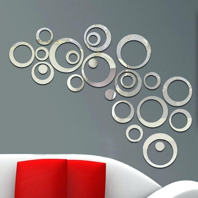 Mirrored Circles Wall Decor 24Pcs Circles Wall Stickers Mirror Style Within Famous Mirror Circles Wall Art (View 4 of 15)