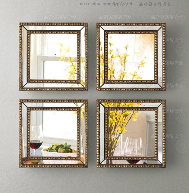 Mirrored Frame Wall Art Inside 2018 Mirrored Wall Decor Fretwork Square Wall Mirror Framed Wall Art Set (View 4 of 15)