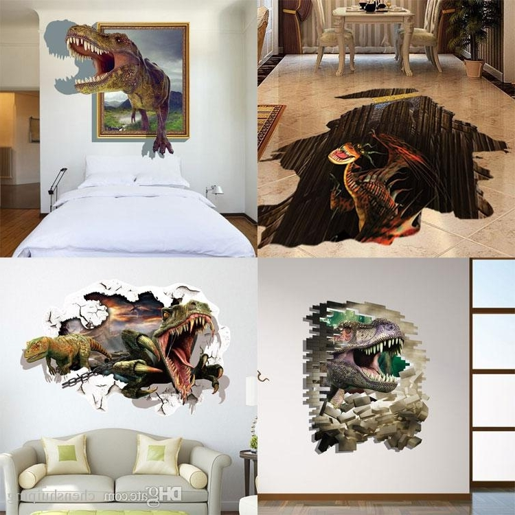 Mixed New 3D Dinosaur Wall Stickers Decorative Wall Decal Cartoon Pertaining To Most Current 3D Dinosaur Wall Art Decor (View 12 of 15)
