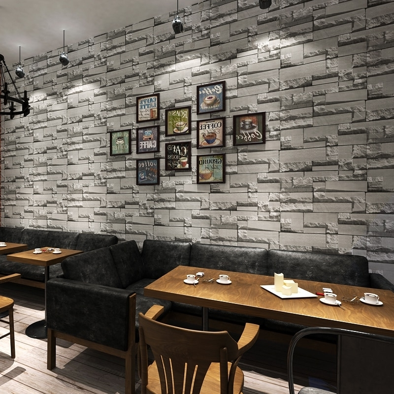 Modern 3D Stone Brick Wall Non Woven Wallpaper Roll Living Room Intended For Recent 3D Brick Wall Art (View 8 of 15)