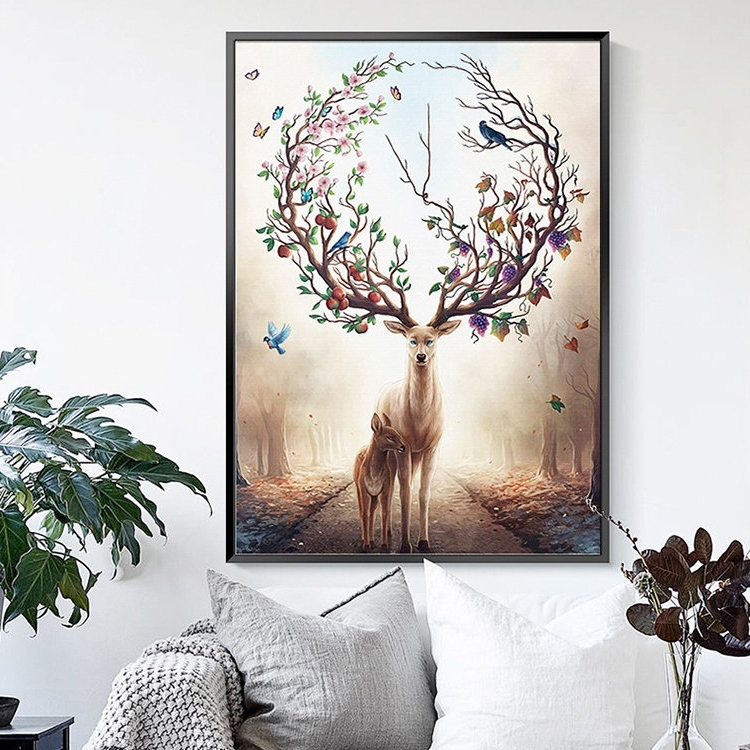 Modern Abstract Elk Deer Canvas Painting Frameless Wall Art Bedroom Pertaining To Best And Newest Abstract Deer Wall Art (View 8 of 15)
