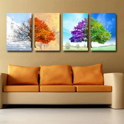 Modern Abstract Huge Oil Painting Wall Art Throughout Favorite 4 Pieces Huge Canvas No Frame Modern Abstract Art Oil Painting Wall (View 9 of 15)