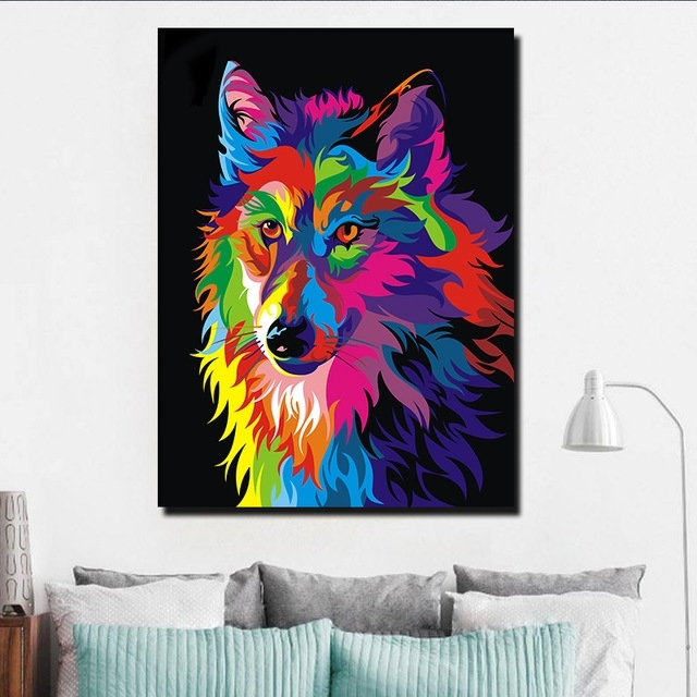 Modern Abstract Huge Wall Art Throughout 2017 Modern Abstract Huge Wall Decor Watercolor Wolf Art On Canvas Oil (View 3 of 15)
