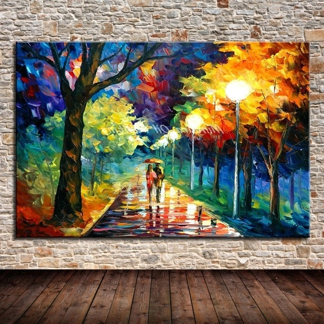 Modern Abstract Oil Painting Wall Art Inside Well Liked Mintura Art Handpainted Landscape Picture Modern Abstract Oil (View 10 of 15)