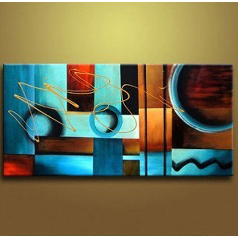 Modern Abstract Oil Painting Wall Art Throughout Fashionable Blue And Brown Circles Modern Abstract Oil Painting Canvas Wall Art (View 11 of 15)