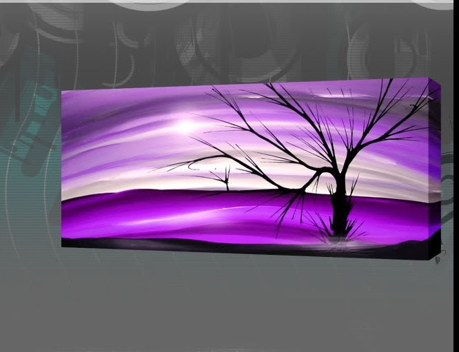 "Modern Abstract Painting The Lone Tree 44 X 20"" Panoramic With Best And Newest Purple Abstract Wall Art (View 11 of 15)"
