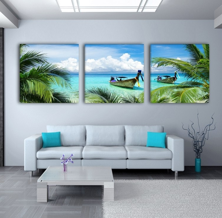 Modern Art 3 Piece Landscape Ocean And Sandy Beach Wall Painting Inside Recent 3 Piece Beach Wall Art (View 10 of 15)