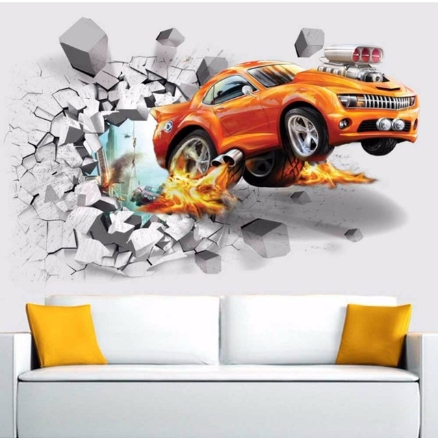 Modern Fashion Mural Poster Cars 3D Broken Wall Removable Wall Throughout Well Liked Cars 3D Wall Art (View 7 of 15)