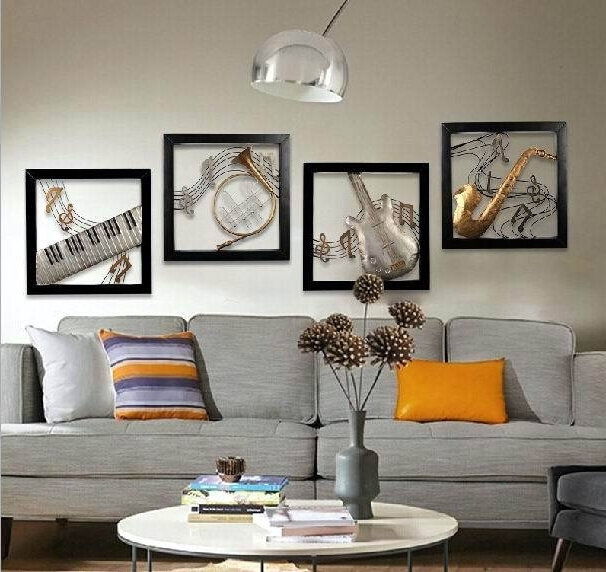 Modern Home Decoration Metal Wall Art 3D Musical Instruments Hanging Intended For Most Up To Date Metal Music Wall Art (View 7 of 15)