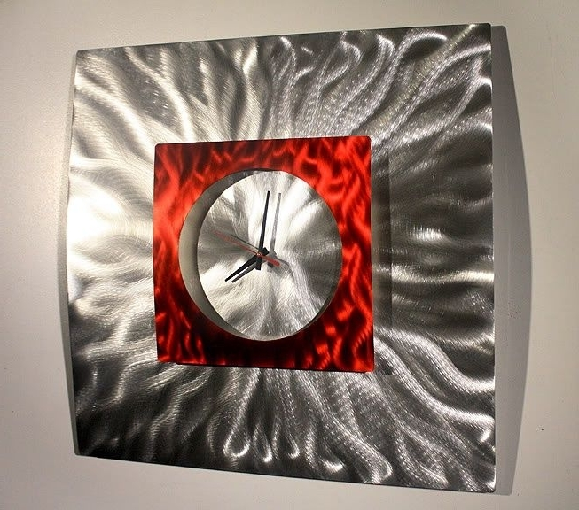 Modern Metal Inside Abstract Metal Wall Art With Clock (View 10 of 15)