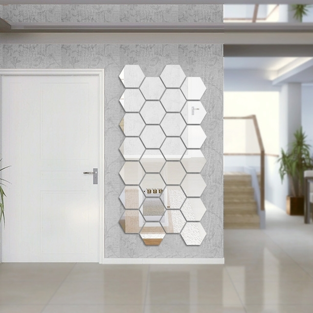 Modern Mirrored Wall Art For Well Known 7Pcs/lot 16X18Cm Extra Big 3D Modern Mirror Geometric Hexagon (View 11 of 15)