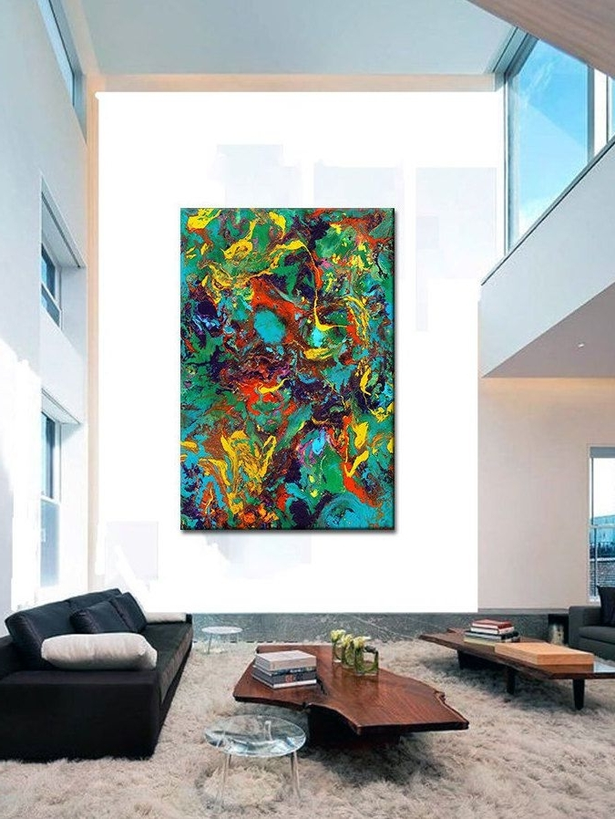 Modern Oversized Wall Art Throughout Best And Newest Oversized Canvas Wall Art, Contemporary Abstract Prints, Epoxy Resin (View 7 of 15)