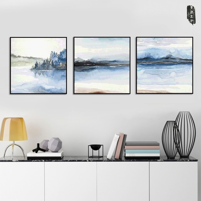 Modern Wall Art Abstract Landscape Canvas Painting Poster And Prints Regarding Famous Abstract Landscape Wall Art (View 9 of 15)