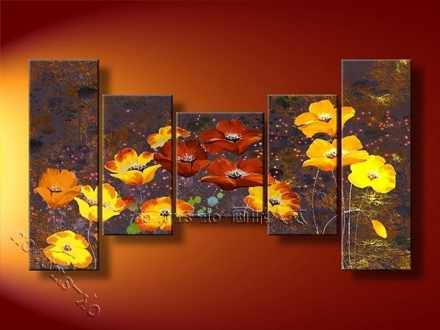 Modern Wall Art For Sale With Famous Abstract Oil Painting Hand Painted Art Sale Golded Butterfly Flower (View 13 of 15)