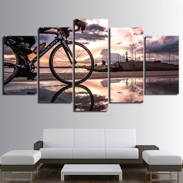 Modular Hd Printed Modern Sport Home Decor Wall Art 5 Pieces Oil With Regard To Newest Cycling Wall Art (View 9 of 15)