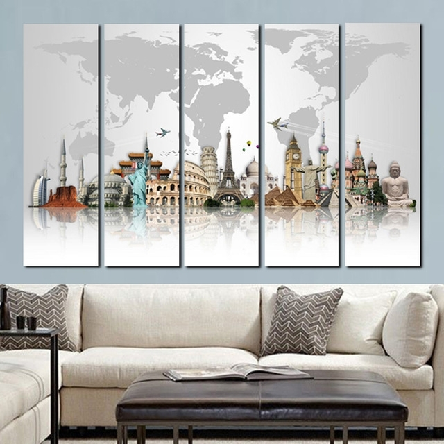 Modular Wall Art Intended For Well Known 5Panel Large Size Hd Prints 3D World Famous Buildings On Canvas Wall (View 6 of 15)