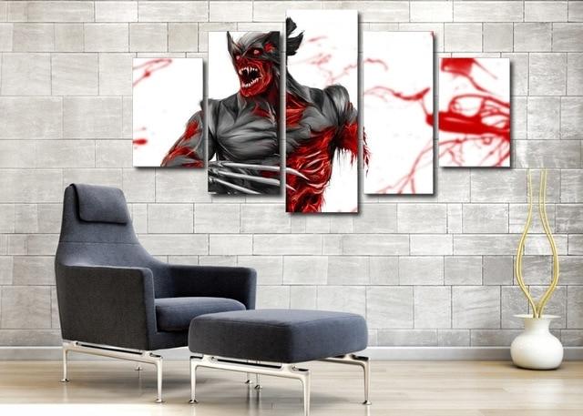 Modular Wall Art Pertaining To 2018 Frameless Modular Wall Paintings 5 Pieces Games Comics Wolverine (View 7 of 15)