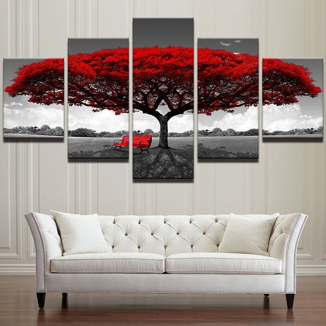 Modular Wall Art Pertaining To Recent Red Tree Modular Canvas Hd Prints Posters Home Decor Wall Art (View 13 of 15)