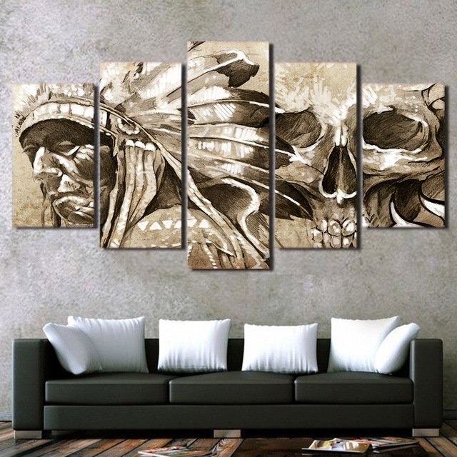 Modular Wall Art Within Well Liked 5 Piece Canvas Printed Decoration Wall Art Indian Portrait Painting (View 8 of 15)