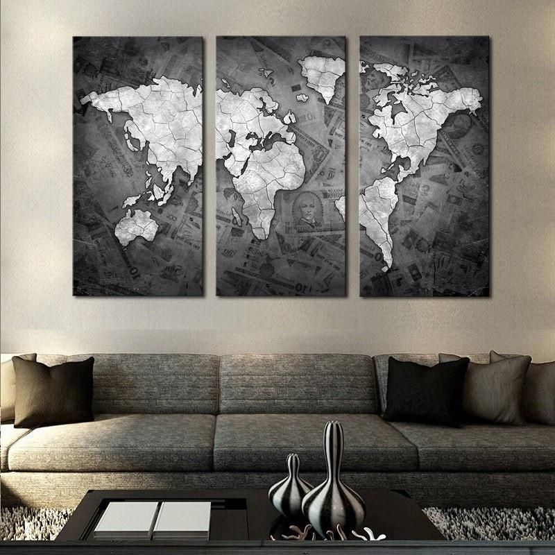 Money Around The World Map 3 Pc Painted Canvas Wall Art (View 9 of 15)
