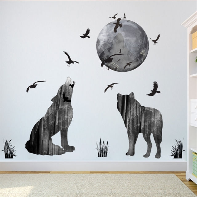 Moon Wolf Wall Stickers Birds Animal Wallpaper 3D Decals Mural Art Inside Recent Wolf 3D Wall Art (View 4 of 15)