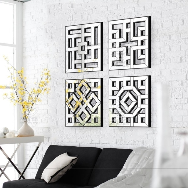 Morden Wall Mirror Square Mirror Mirrored Wall Decor Fretwork Mirror For Widely Used Fretwork Wall Art (View 3 of 15)