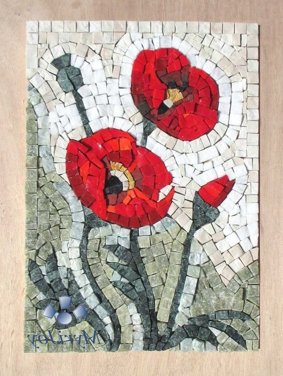 Mosaic Kit Diy Poppies Stained Glass Mosaic Tiles – Mosaics Wall Art Intended For Well Known Mosaic Art Kits For Adults (View 4 of 15)