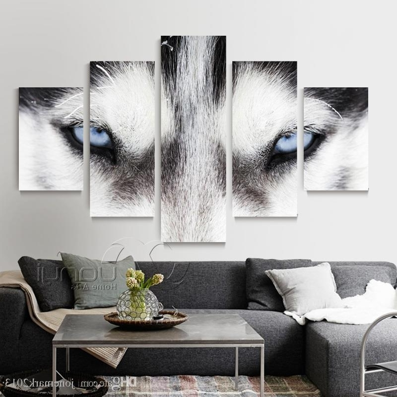 Most Current 2018 5 Panel Abstract Wolf Wall Art Canvas Painting Home Decoration Within Modular Wall Art (View 13 of 15)