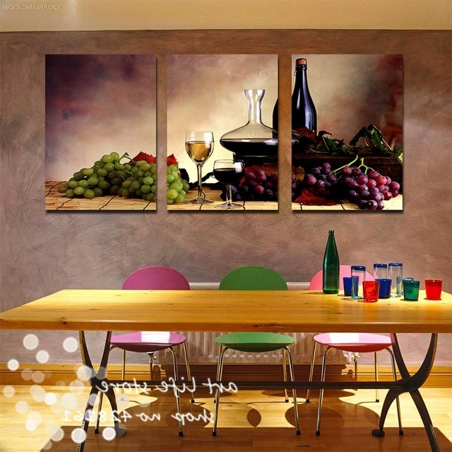 Most Current 3 Pieces Free Shipping Modern Wall Oil Painting Abstract Wine Fruit In Abstract Kitchen Wall Art (View 6 of 15)