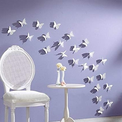 Most Current 3D Butterfly Wall Art Throughout Amazon: Nykkola White 24Pcs 3D Butterfly Wall Stickers Decor Art (View 13 of 15)
