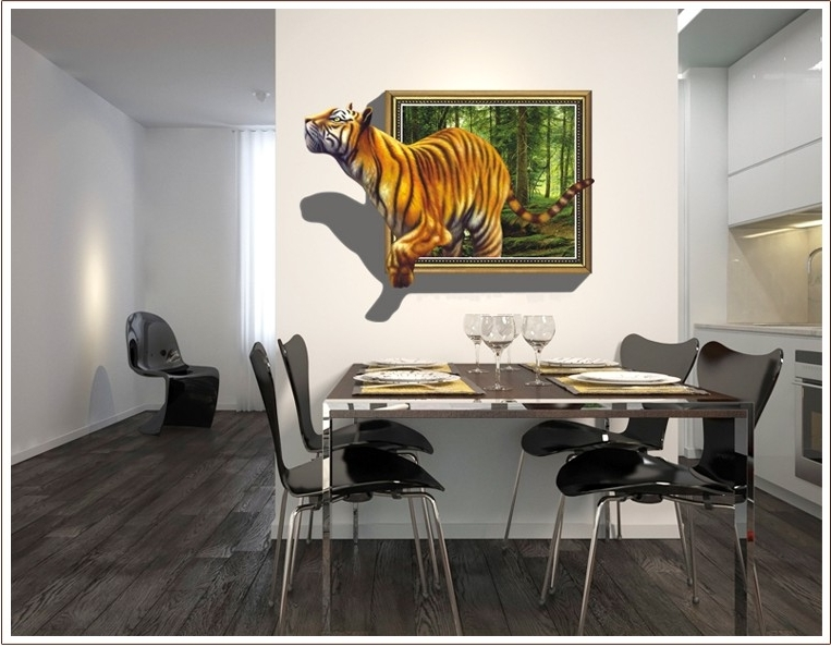 Most Current 3D Effect Tiger In Frame – Printed Vinyl Wall Sticker Decal Décor With Regard To 3D Effect Wall Art (View 9 of 15)