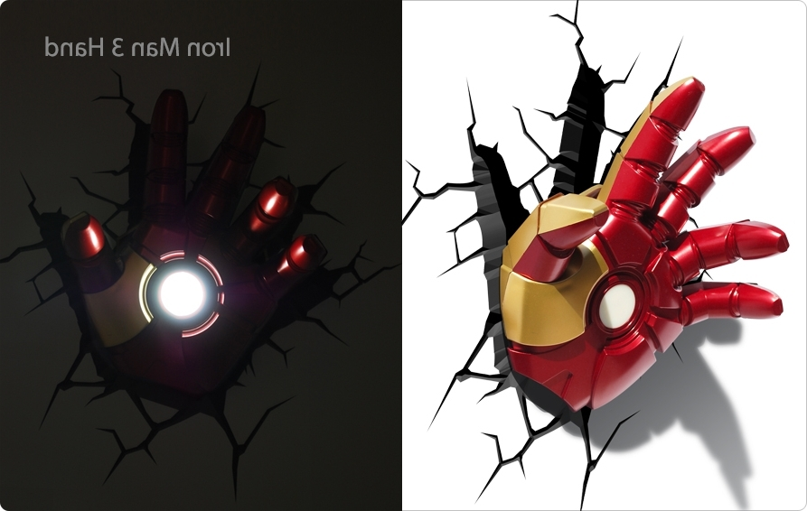 Most Current 3D Wall Art Captain America Night Light Regarding Target 3D Wall Art Thor Hammer, Captain America Shield And Hulk Fist (View 10 of 15)