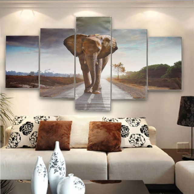 Most Current Abstract Elephant Wall Art Within 5Pcs Large Abstract Elephant Canvas Print Art Picture Home Wall (View 11 of 15)
