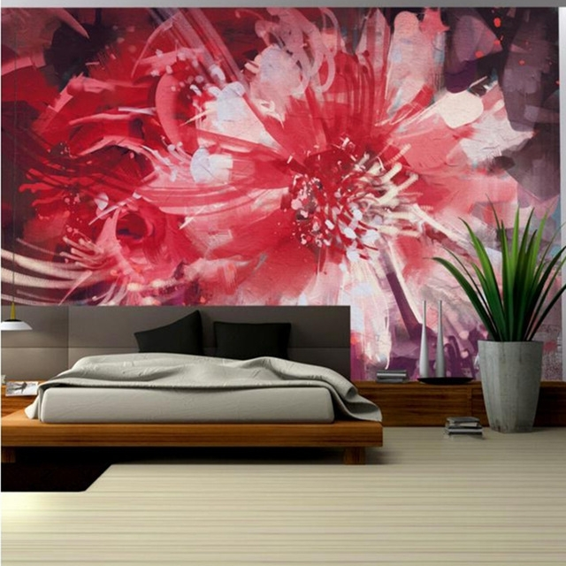 Most Current Abstract Flower Wall Art Regarding Red Wallpaper For Walls Abstract Floral Flower Wall Mural Girls (View 10 of 15)