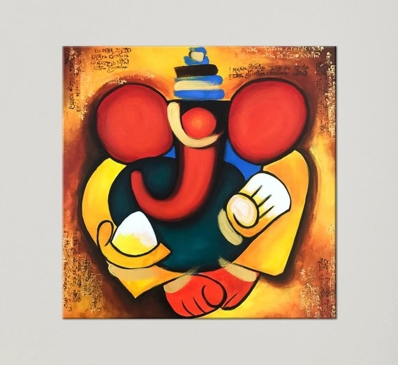 Most Current Abstract Ganesha Wall Art With Regard To Ganesha Painting Indian Art Painting On Canvas Contemporary (View 4 of 15)