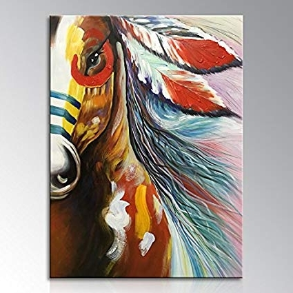 Most Current Abstract Horse Wall Art Within Amazon: Winpeak Art Handmade Canvas Wall Art Modern Contemporary (View 3 of 15)