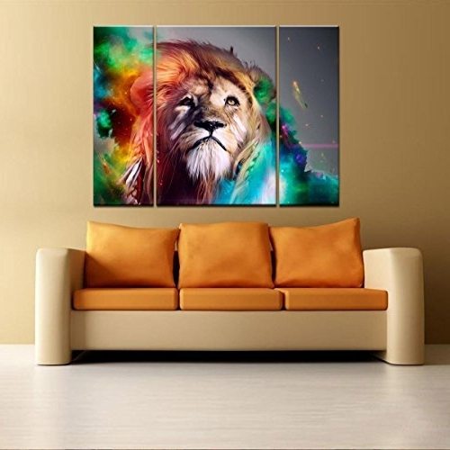 Most Current Abstract Lion Wall Art For Rain Queen Modern Abstract Art Colorful Lion Oil Paintings On Canvas (View 11 of 15)