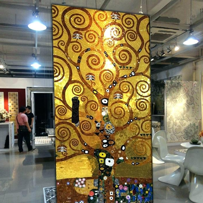 Most Current Abstract Mosaic Art On Wall Throughout Abstract Glass Wall Art Wall Glass Artwork Gold Glass Pattern Mural (View 10 of 15)