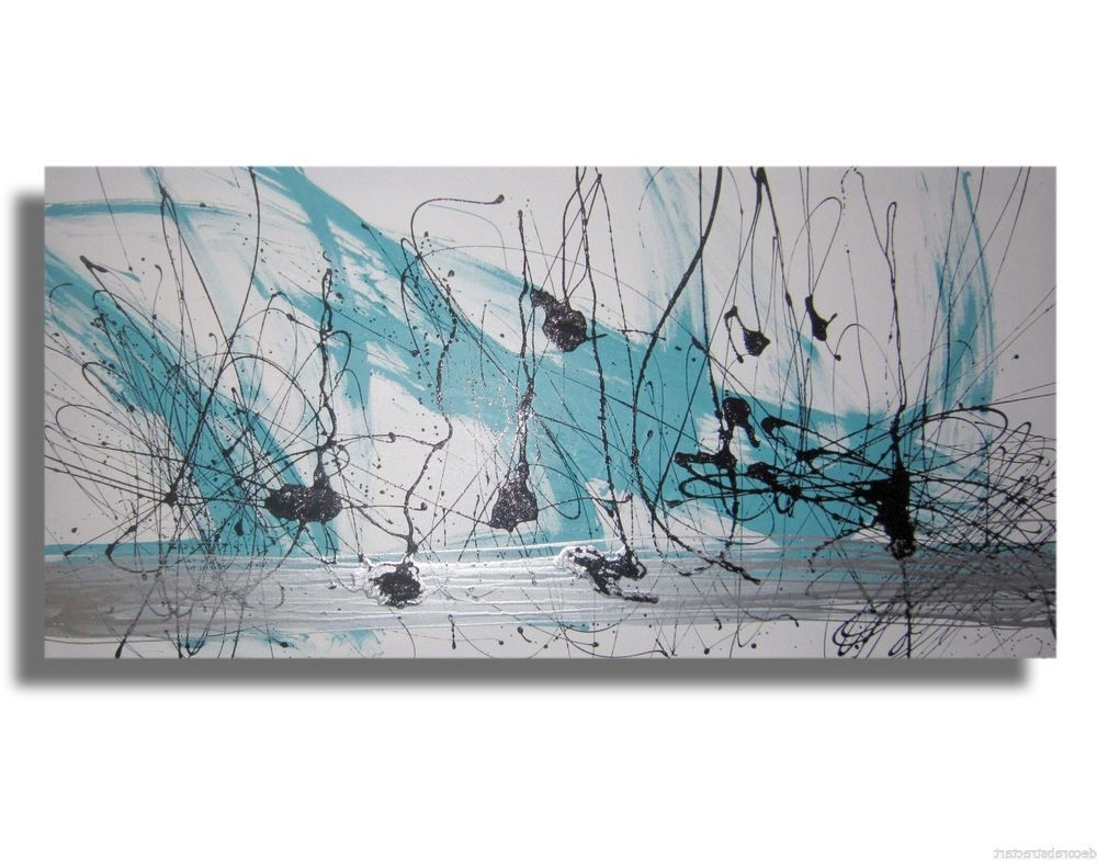 Most Current Abstract Wall Art Australia Intended For Huge Abstract Canvas Painting Wall Art White Turquoise Silver (View 11 of 15)