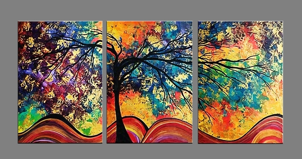 Most Current Abstract Wall Art Prints In Colorful Tree  Modern Canvas Art Abstract Oil Painting Wall Art (View 10 of 15)